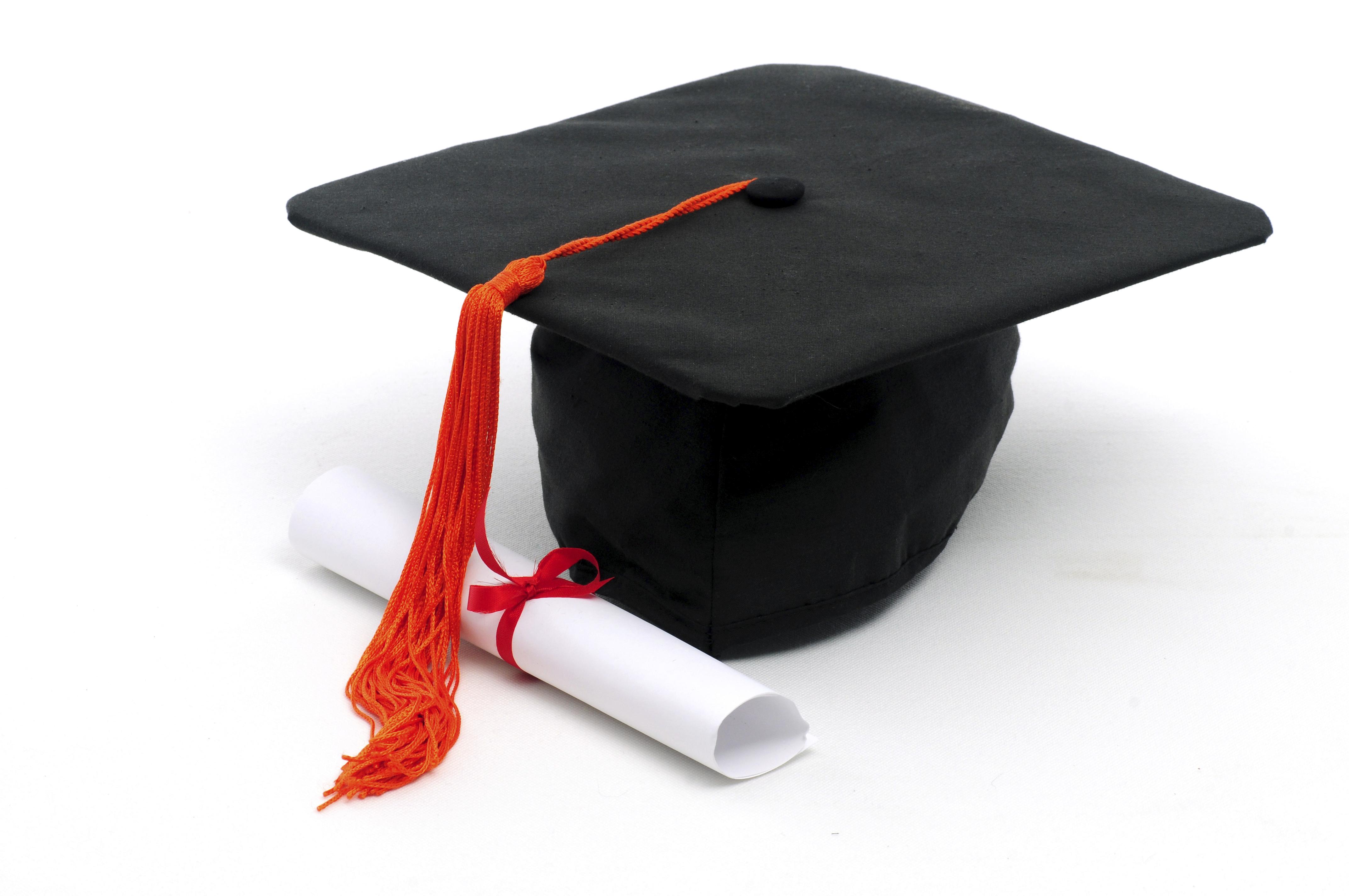 graduation cap and scoll