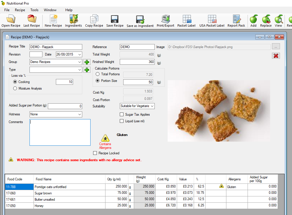 Recipe Screen for Nutritional Pro